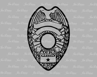 Police badge, SVG DXF EPS , badge svg, police svg. Police Badge Design, law enforcement, svg file for Cricut, Silhouette svg, cutting file,