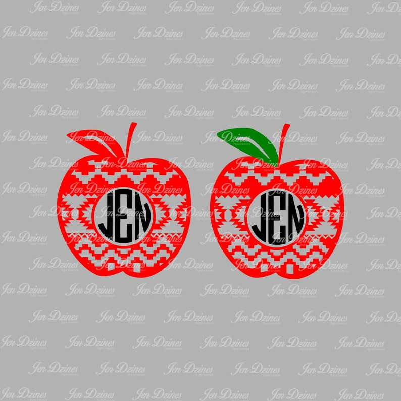 Apple Aztec Monogram Frame Svg Dxf Eps Cutting File Etsy
