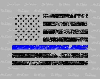 Blue Line Distressed Flag, SVG DXF EPS , Police Flag Design, law enforcement  file, svg file for Cricut, Silhouette svg, cutting file,