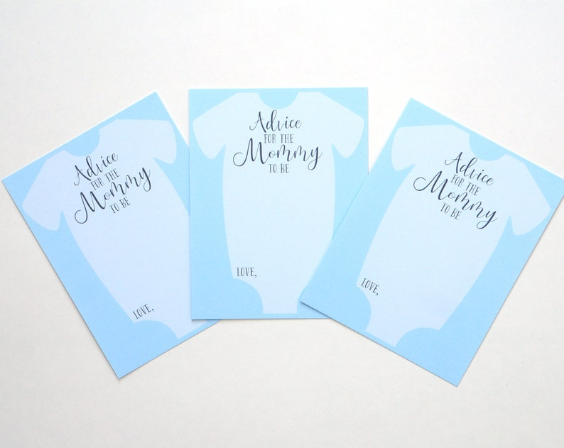Boy Advice for the New Mommy Mommy Advice Cards Baby Shower Game Baby Shower Advise Card Blue Advice for the Mommy to Be