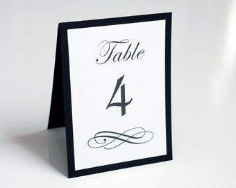 Wedding Table Numbers - Scripted - Event Table Number - Black & White - Table Name Cards - Tent Cards - Rehearsal Dinner - 4 by 5.5 in