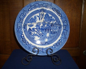 Vintage Ye Olde Willow...Blue Willow Grill Plate...JKent...Fenton...Made in England