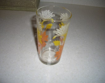 Vintage Tumbler...Orange, Yellow, and White Flowers...Federal Glass CO.
