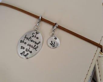 She Believed She Could Charm Set / Travelers Notebook Charm / TN Charm / Planner Charm / Midori Charm / Zipper Charm / Purse Charm