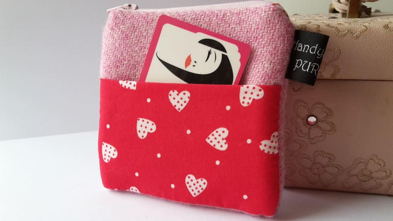 Harris Tweed Pink Pocket Coin Purse with Red Heart Fabric image 0
