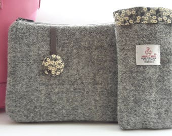 Harris Tweed Grey Mobile Cozy, Liberty Mitsi Valeria Fabric, Gifts for Mom, Gifts for Female Teacher, Gifts for Female Boss, Gifts for Aunts