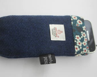 Harris Tweed Blue Mobile Cosie with Liberty of London Mitsi Print Fabric Lining