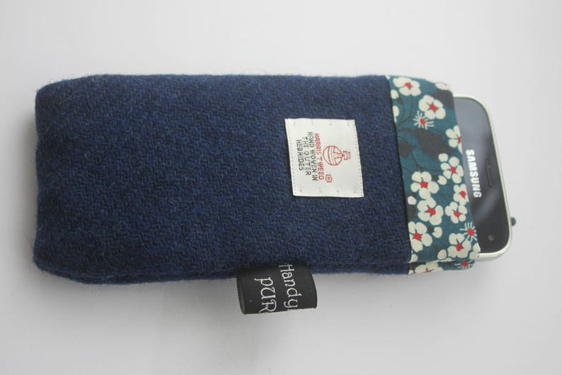 Harris Tweed Blue Mobile Cosie with Liberty of London Mitsi image 0