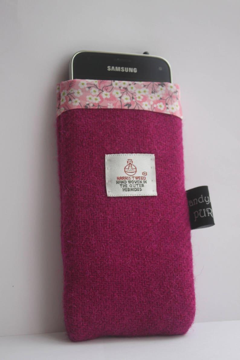 Harris Tweed Deep Pink Mobile Cosie with Liberty of London image 0