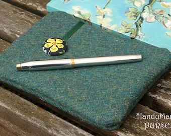Harris Tweed Green Purse, Liberty Purse, Edenham, Flower Purse, Best Friend Gift, Daisy Purse, Mother's Day, Grandmother Gift, Wool Gifts