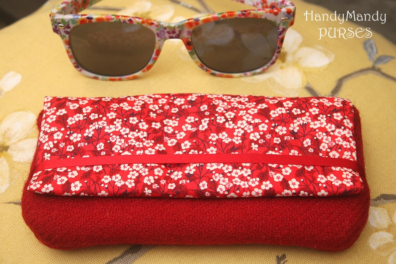 Harris Tweed Red Glasses Case Liberty Mitsi Valeria fabric image 0