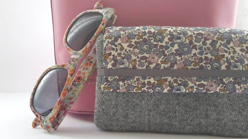 Harris Tweed Grey Glasses Case Wool Glasses Case Liberty image 0