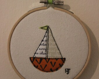 Sail Boat in Embroidery Hoop