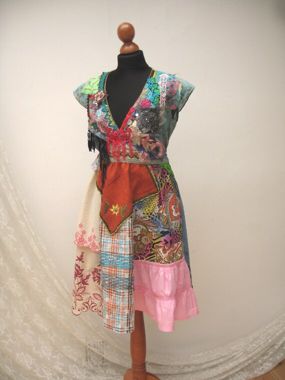 Unigue Mix Cotton Textil Dress Adorned Gypsy Dress Upcycled Dress Reworked Dress Art To Wear Fantasy Dress