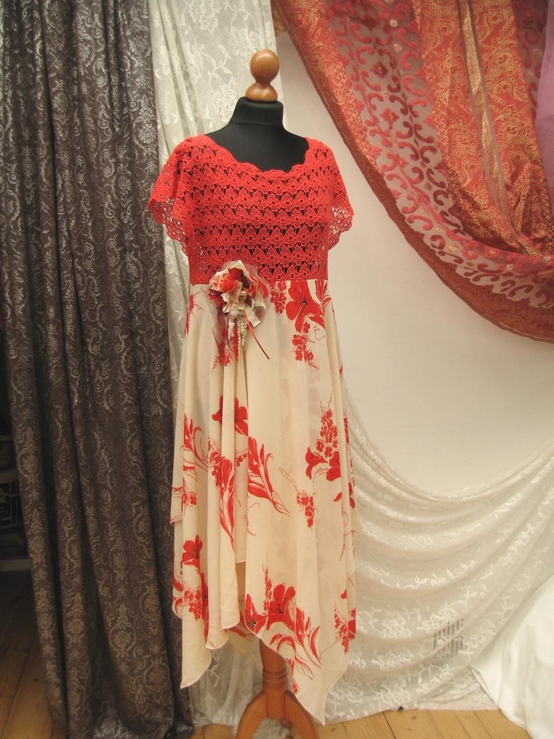 6ec4b4f03b Romantic Upcycled Unique boho dress reworked decorated dress