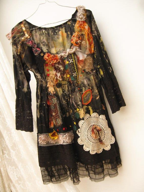 Unigue Cotton Black Mini Dress Adorned Gypsy Dress Upcycled Dress Reworked Dress Art To Wear Fantasy Dress Hand Dyed Dress