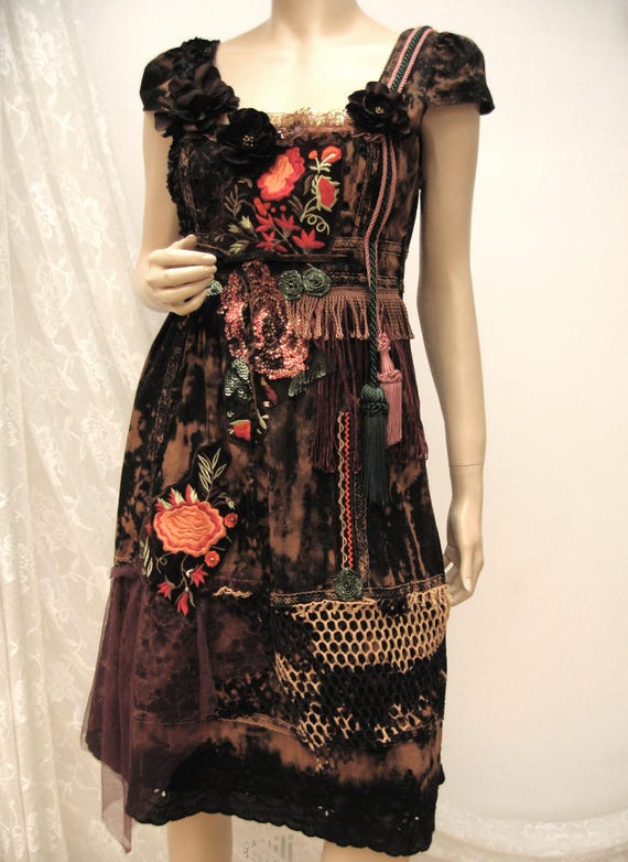 Unigue Cotton Black Embroidery Dress Adorned Gypsy Dress Upcycled Dress Reworked Dress Art To Wear Fantasy Dress Hand Dyed Dress
