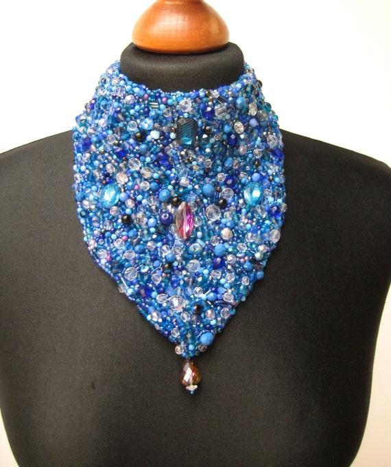 Velvet choker handmade blue embroidered pearl delicate beaded summer festivals