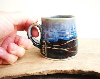 Espresso cup, double shot espresso mug. Scottish Landscapes pottery handmade blue brown and white small coffee drinking cup