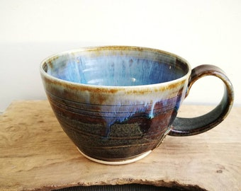 Scottish Landscapes Mug. Large open cappuchino, soup bowl with handle. Handmade pottery, blue purple brown and white.