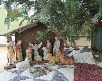 nativity set baby jesus in the mangervintage christmas nativityholy familyvintage mangerchristmas collectiblesholidaychristmas decor
