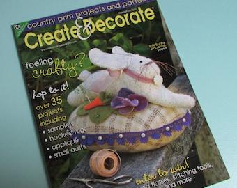 Create U0026 Decorate Magazine  Primitive Home Decor Ideas,punch Needle,craft  Books,handmade,decorating Ideas,sewing Ideas,country Home Decor