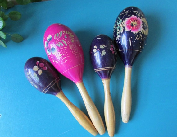 Hand Painted Large Wood Maraca 11 inches Pink