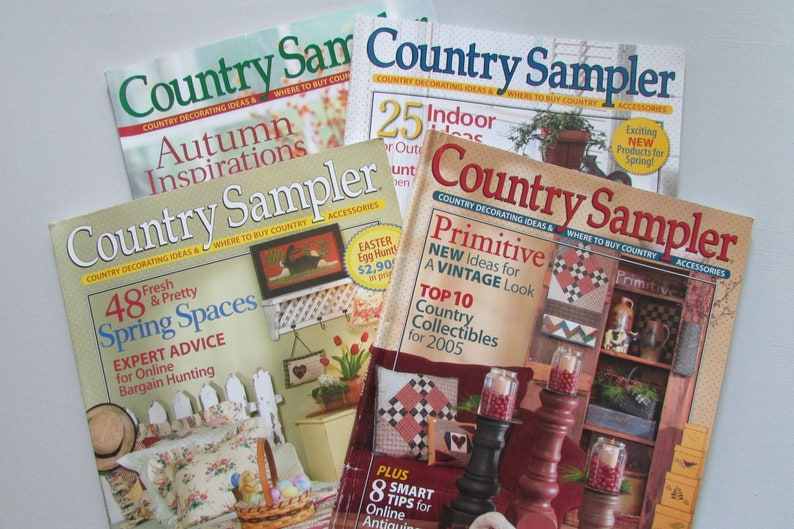 4 Country Sampler Magazines 2000 S Primitive Home Decor Etsy