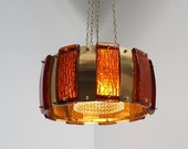 Brass pendant with thick amber colored glass pieces - lovely Danish mid century design from Vitrika, 1960s