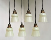 Adorable glass lights with brass top sold in 2 sets of 3 lights - Danish design from the 1940s