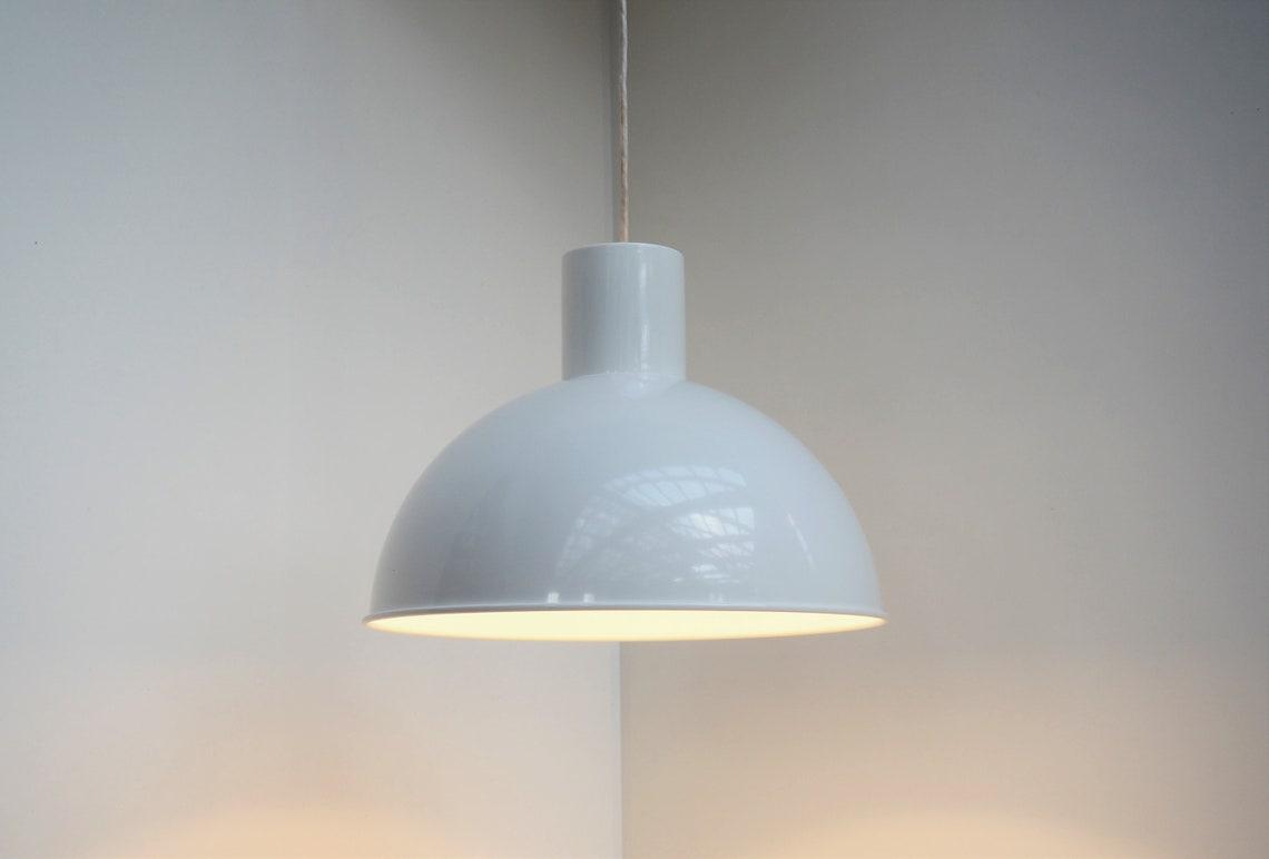 White pendant called Maxi Bunker designed by Jo Hammerborg for Fog & Morup, 1970s