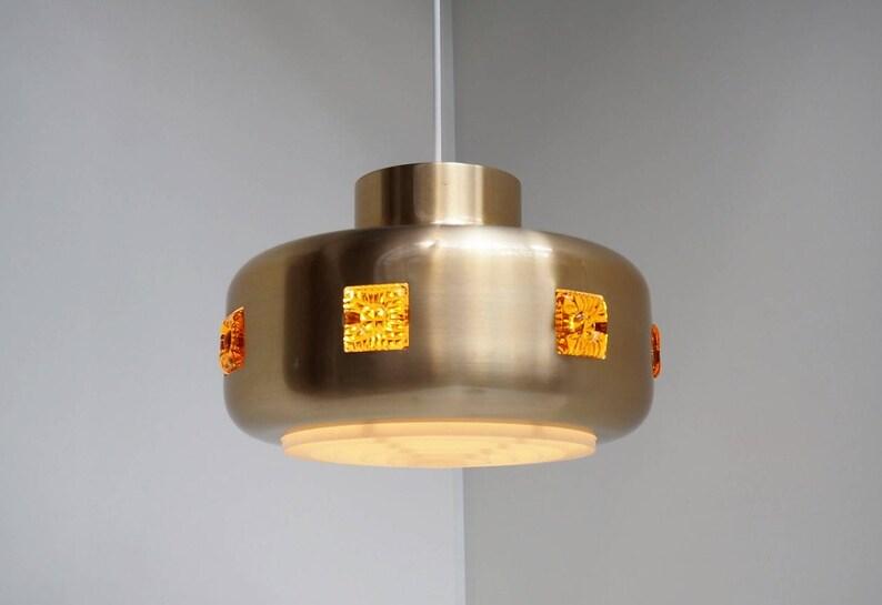 ALUMINUM pendant light by Lyskaer 1970s Aluminum hanging lamp with yellow plastic inserts Danish Mid century design lighting
