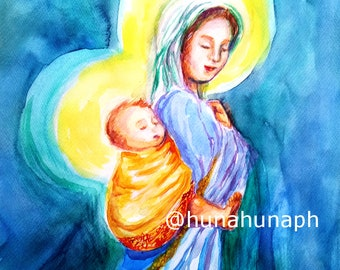 Watercolor Clip Art, Babywearing, Mother Mary, Mama Mary, Religious, Baby Jesus, Mother and Child, Madonna and Child, Digital Art