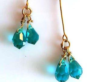 Blue and Gold Earrings | Blue Crystal Earrings | Blue Dangle Earrings | Aquamarine Earrings | Antoinette Earrings | Dangle | Blue Earrings