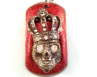 Skull Dog Tag | Skull Necklace | Skull Pendant | Skull Jewelry | Gothic Jewelry | Whimsy Whimsical Jewelry | Popskullpture | Red Skull