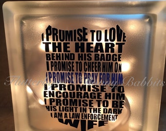 Police wife lighted glass block night life memory block thin blue line police wife police spouse back the blue