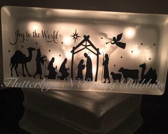 Nativity scene lighted glass block Christmas decoration night light christmas night light christmas lights glass block nativity scene