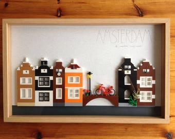 Amsterdam canal houses, LEGO® design, original design, Amsterdam art, LEGO®, european city, architectural design, souvenir, Amsterdam city