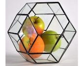 Rombotriakontahedron 3 sizes Modern Wedding table Decor Geometric Glass Terrarium Stained Glass Terrarium Handmade Glass Terrarium