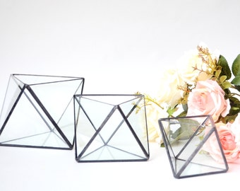 Glass geometric terrarium Octahedron 3 sizes. Wedding table vase, candle holder and centerpice. Stained glass indoor planter