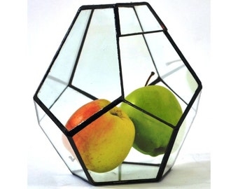 Stretched Dodecahedron 3 sizes / Geometric Glass Terrarium / Stained Glass Terrarium / Handmade Glass Terrarium