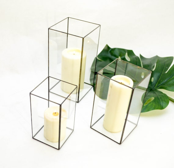 candles as wedding decor united with love.htm set of 3 geometric glass candle holders rectangles modern etsy  set of 3 geometric glass candle holders