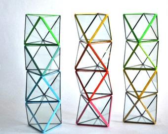 Colored Octahedron / Geometric Glass Terrarium / Stained Glass Terrarium / Handmade Glass Terrarium
