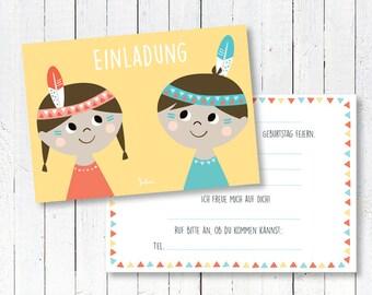 Einladungskarten Kindergeburtstag Indianer | 5er Set