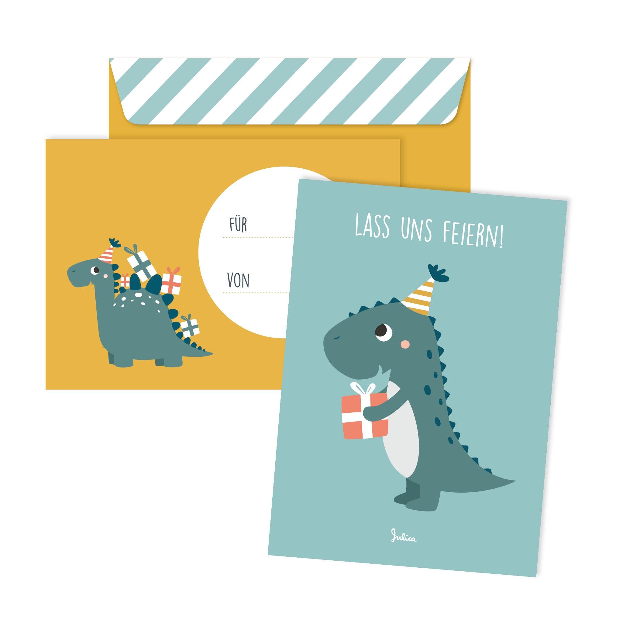 8 Dino-Einladungen Einladungskarten Umschlag Dinosaurier Geburtstagseinladungen