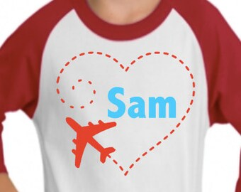 custom personalized valentine vinyl graphic raglan tee airplane boys