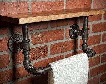 Industrial Bath Towel Rack - Bathroom Shelf - Home Decor - Industrial Shelf - Rustic Shelf - Industrial Decor - Towel Rack - FREE SHIPPING