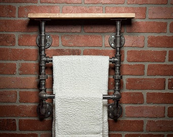 Industrial Bath Towel Rack - Bathroom Shelf - Home Decor - Industrial Shelf - Rustic Shelf - Industrial Decor - Towel Rack - FREE SHIPPING