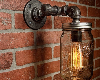 Mason Jar Light - Vanity Light - Edison Light - Rustic Light - Industrial Light - Wall Light - Wall Sconce - Steampunk Light - FREE SHIPPING