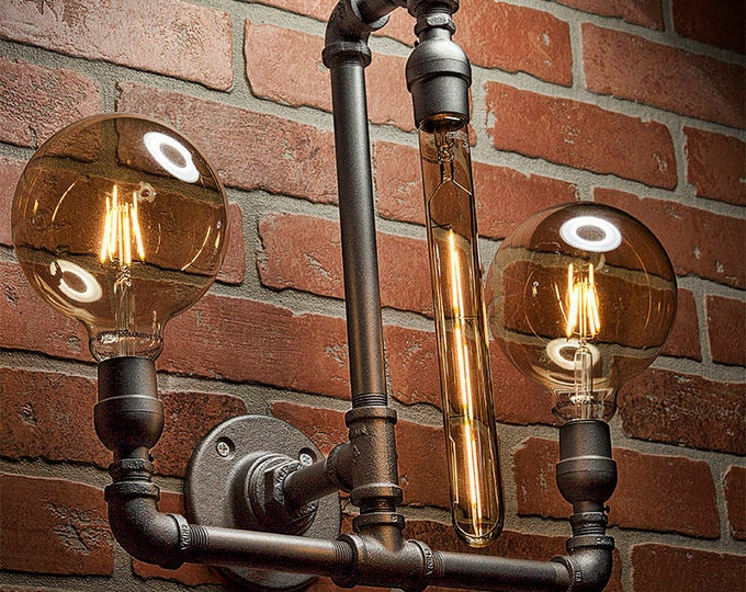 Pipe Light - Lighting - Pipe Sconce Light - Steampunk Lighting - Bathroom Light - Industrial Lighting - Wall Light - FREE SHIPPING